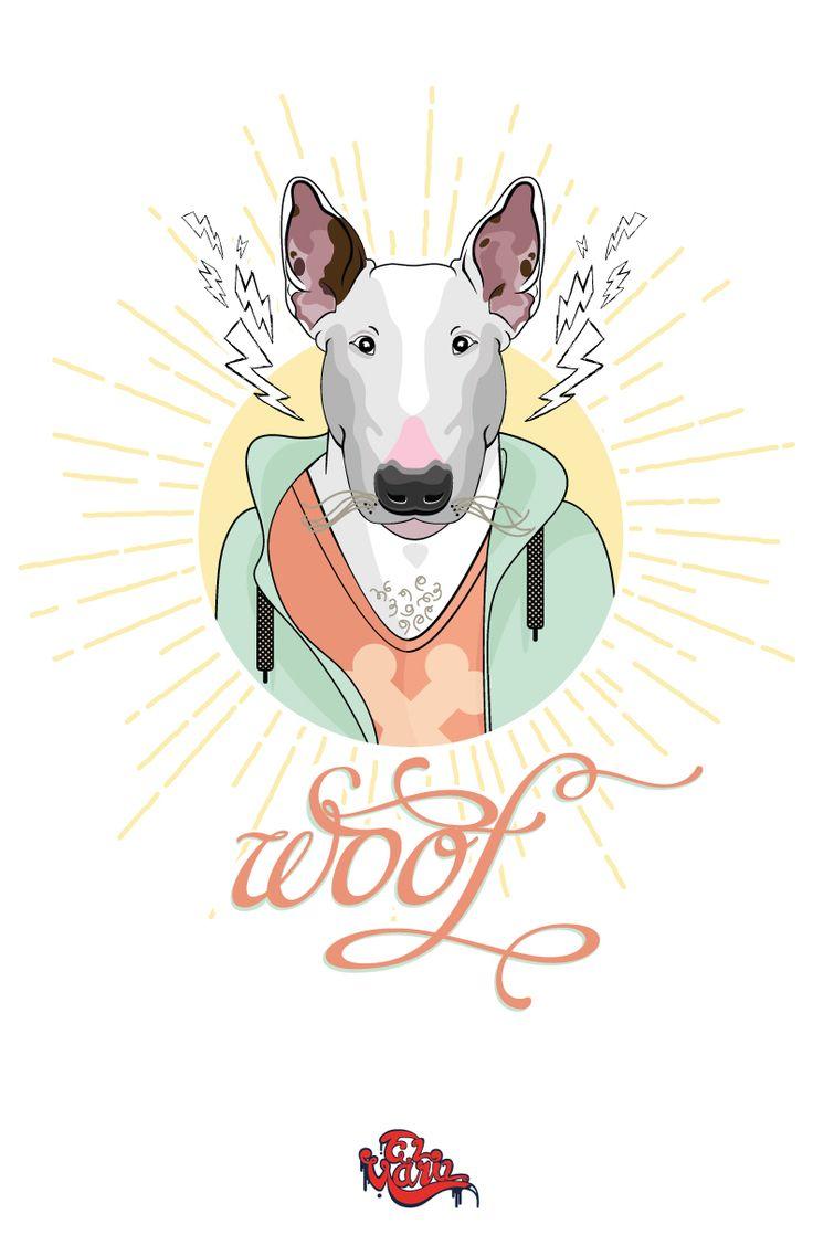 ilustracion vectores , bull terrier ingles