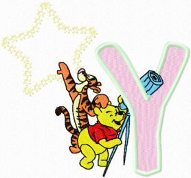 Tigger Pooh alphabet letter y machine embroidery design