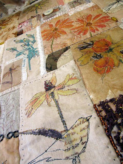 Stitch Ritual (detail) ~ artist Jane LaFazio. A truly beautiful, large embroidered & distressed piece #textile #art