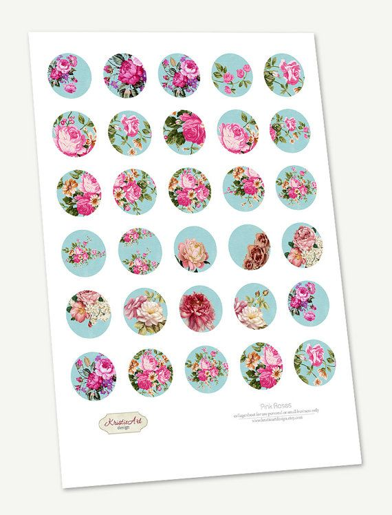 Digital Collage Sheet Pink Roses You will receive 3 sheets: - 30 mm, 25mm, 20mm (1.2 inch, 1.0 inch, 0.8 inch) sizes; - 30 images on each sheet; - 300 dpi High Quality resolution; - JPG file for easy printing. Sheet sizes 8.2x11 inch (20.8x27.9 cm) for US Letter or International A4