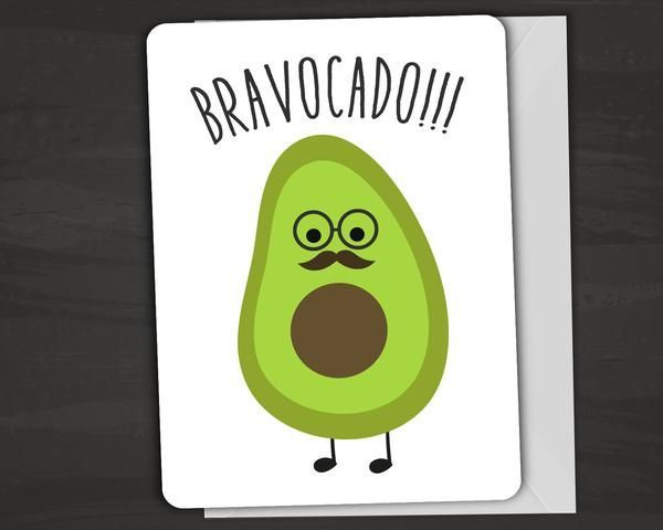 "Cute and clever avocado card with a pun on the outside reads ""Bravocado!"" Inside reads ""Guac on!"" Fun Usual Suspects cards are carefully printed on thick, high-quality card stock and have rounded corn"