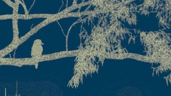 Silver Gray and Navy Bird on Branch by BlackbirdArtDesign on Etsy, $35.00
