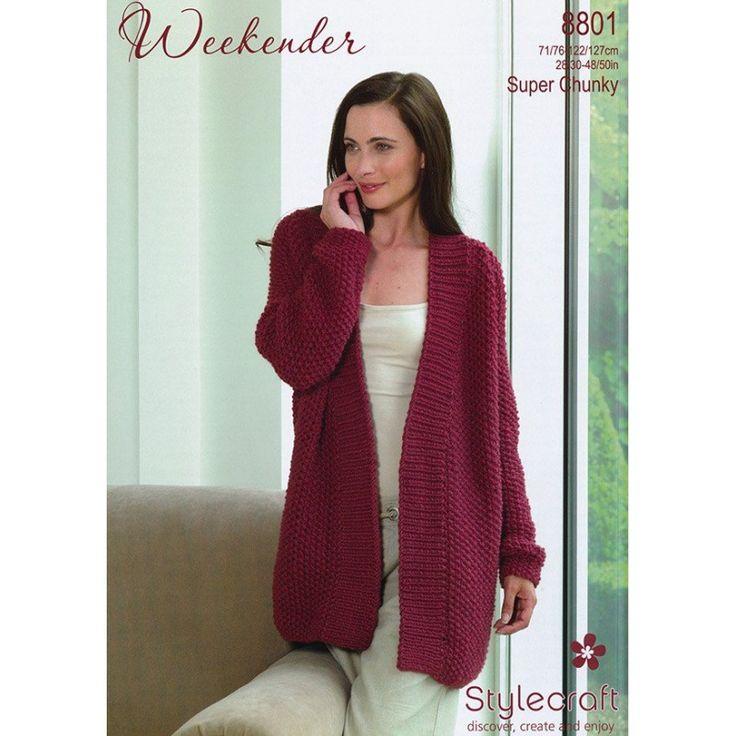 Long Cardigan Knitting Pattern : 8801-stylecraft-weekender-ladies-long-cardigan-knitting-pattern.jpg (800 800)...