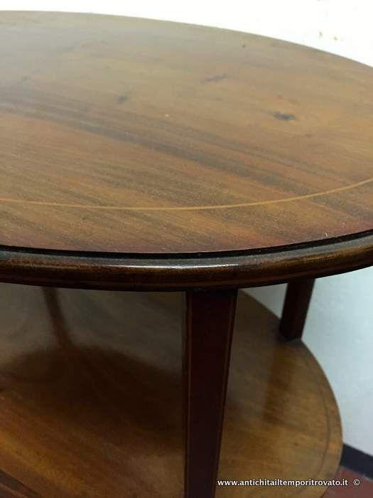 Mobili antichi - Tavoli e tavolini - Tavolino ovale Vittoriano 3 piani d`appoggio Tavolino in massello di mogano filettato - Immagine n°3