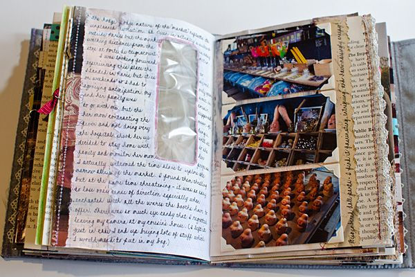 Journal Pages by Johwey Redington I love the reused envelope with clear window as a journal page!!!!~SB