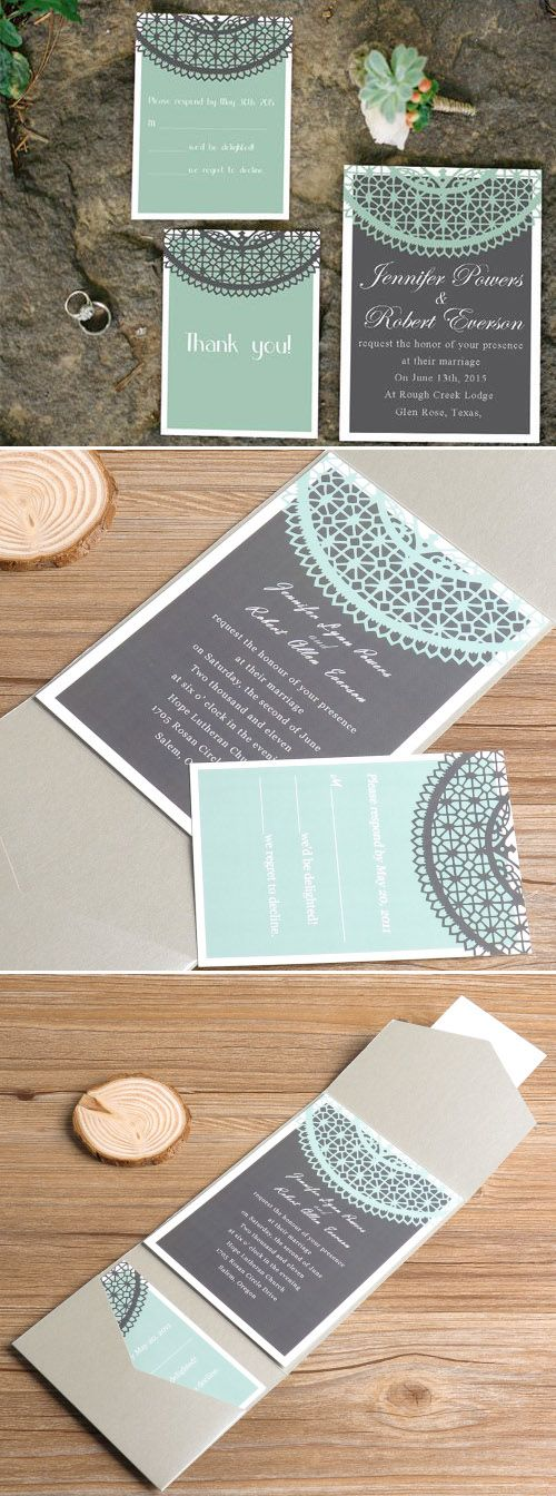 gray and mint green wedding color inspired printed lace pocket wedding invitations