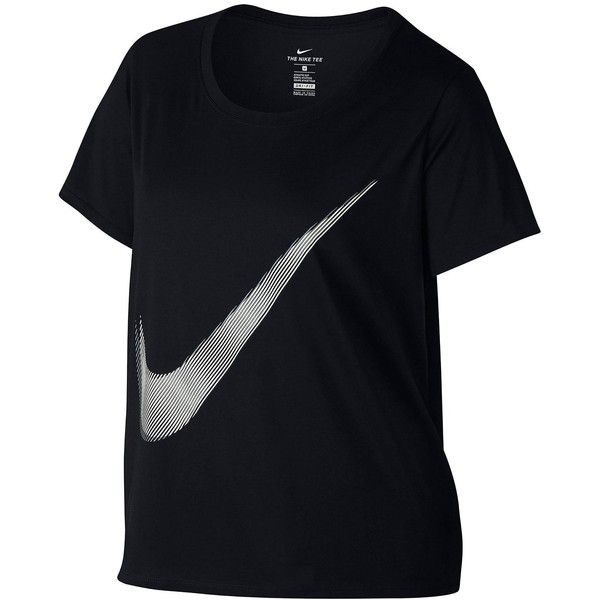 Nike Dry Swoosh T-Shirt (Plus Size) ($32) ❤ liked on Polyvore featuring activewear, activewear tops, nike sportswear, plus size activewear, nike, women's plus size activewear and nike activewear