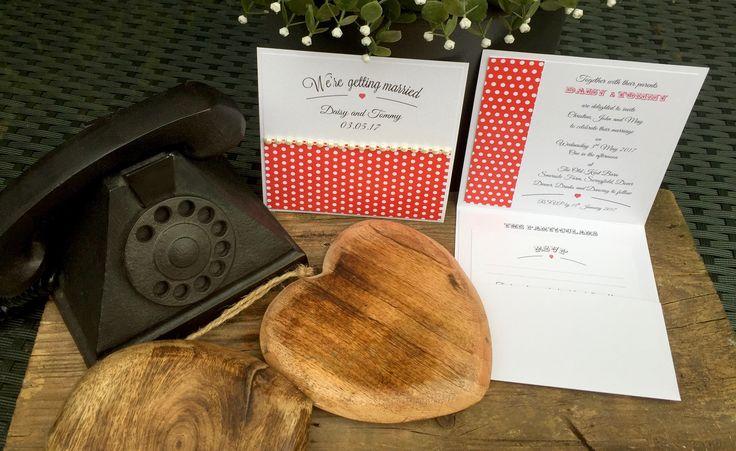 Polka Dot Pocket Fold Invitations