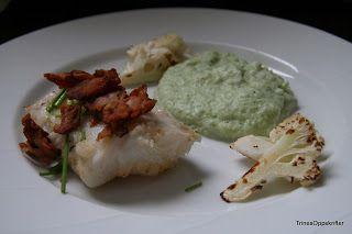 Trines Oppskrifter: Pannestekt torsk med grønn blomkålspure og bacon