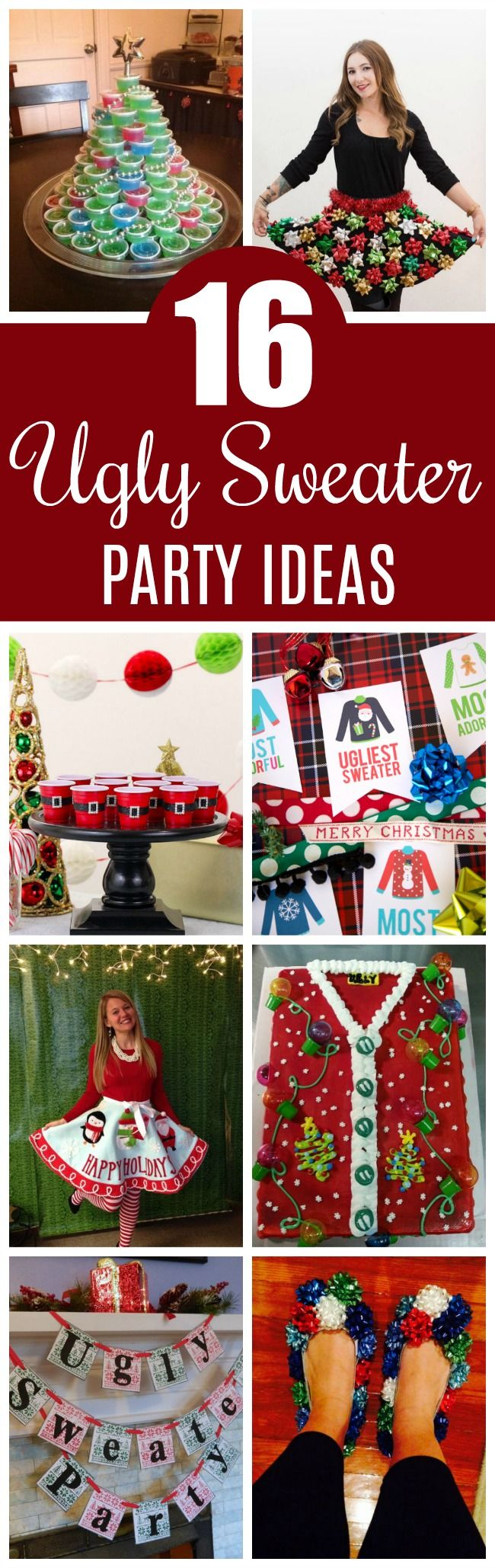 16 Totally Unforgettable Ugly Christmas Sweater Party Ideas on Pretty My Party #uglysweaterpartyideas #uglychristmassweaterparty
