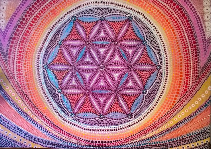 Flower of life, acrylic on canvas 70x50cm, available
