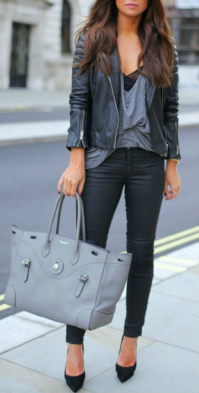 Grey + black. Maybe with a little higher neck line, it would be perfect for a night out! :)