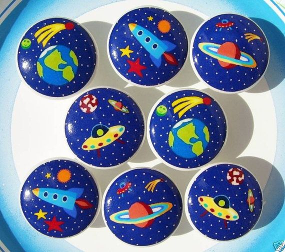 8 Space Rocket Ship Planets Galaxy Dresser Drawer Knobs boys