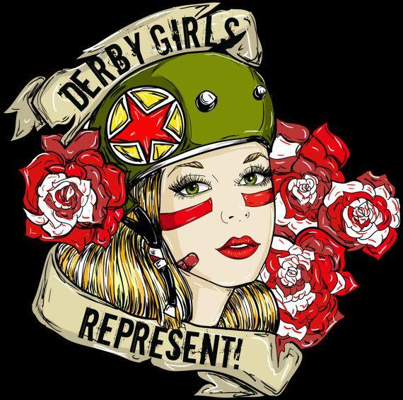 Derby Girls Represent Pin Up Girl Art Tattoo by Pajamasquid #rollerderby #derbygirl #pinup #tattoo #Pajamasquid