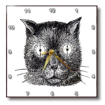 special offers 3drose dpp_183700_1 print of funny cat face drawing with clocks for eyes wall - Feldstein Kaminsimse
