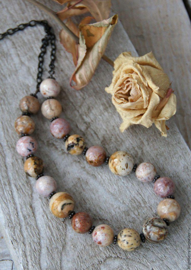 Rustic Beads with Natural Stones / Бусы ЛЮБИМЫЙ БУКЕТ натуральные камни, колье крупные бусины - натуральный, деревенский стиль