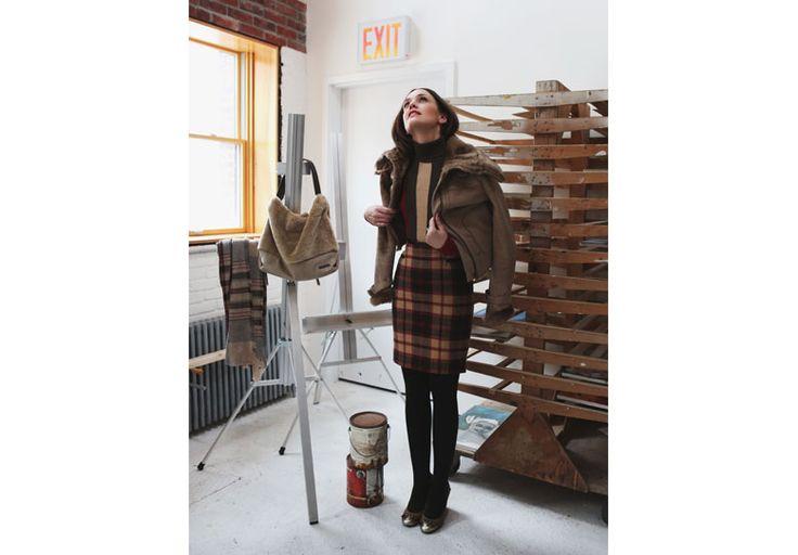 Tartan skirt and eco fur for the coat. Equestrian them with a metropolitan twist. #pennyblack #tartan #ecofur #nywinter