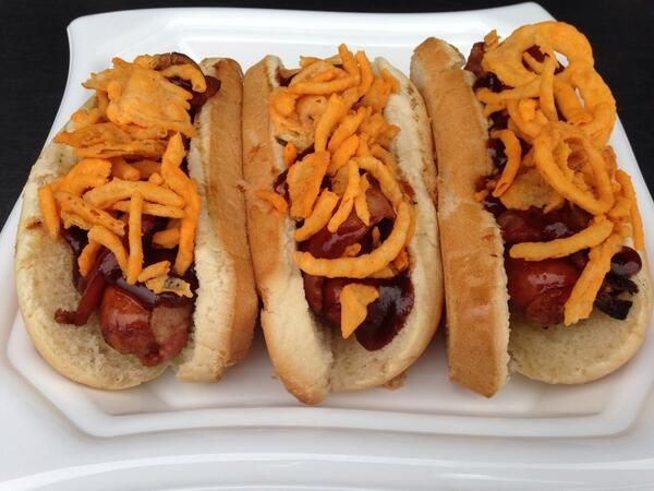 Bacon-wrapped Beddar with Cheddars topped with BBQ sauce and French's Cheddar Fried Onions