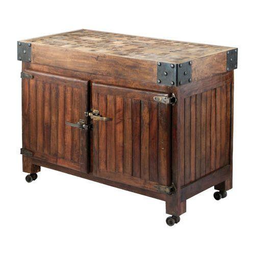 This stunning vintage wood ice box island is a reproduction of an antique ice…
