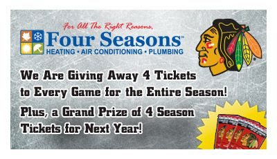 Four Seasons is teaming up with WGN Radio to give out over 100 tickets to Blackhawks games this season with a final grand prize of 4 season tickets for next year!  Ready to take your shot? Find out how to enter here:  http://hubs.ly/y0mDR20