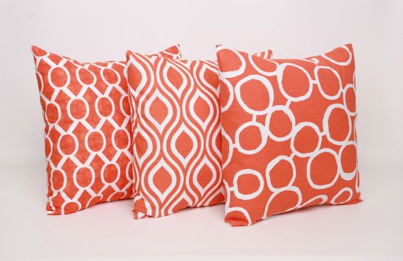 Set of 3 Orange and White Throw Pillow Covers 16 x 16 Orange Cushion Cover Tangerine Pillow Cover Sham Orange Pillow Sham Tangelo Sydney on Etsy, $45.00