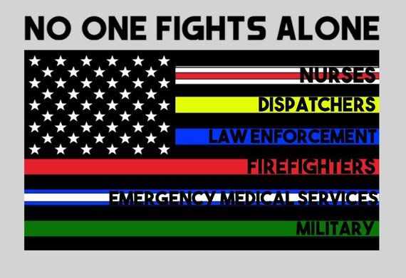 No One Fights Alone Thin Blue Line American Flag Vinyl Car Etsy American Flag Decal Fight Alone American Flag
