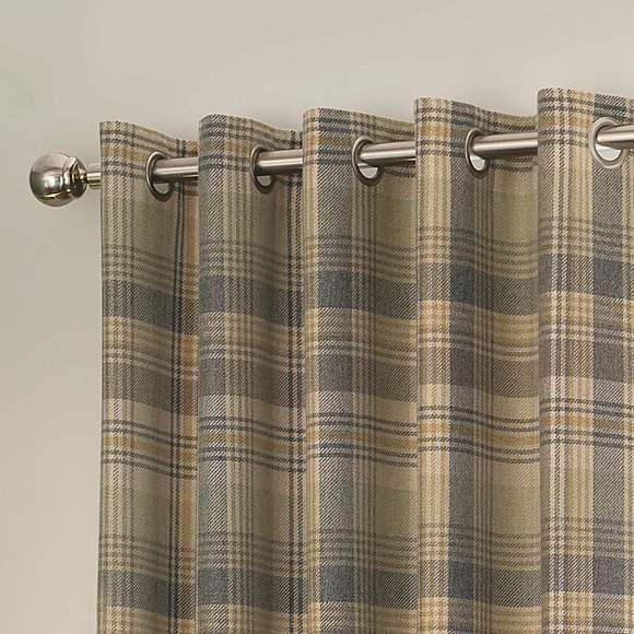 Finley Check Thermal Green Eyelet Curtains | Dunelm