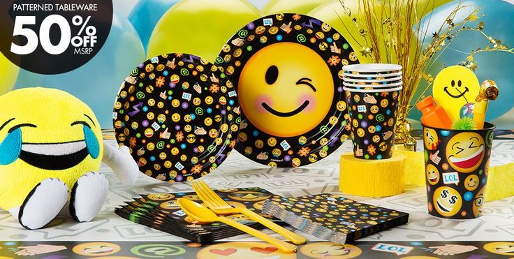 Your smiley face party will be trending when you set the tables with Emoji Party Supplies. Featuring prints of popular emoticons, this set of tableware is suited for a variety of events . - Party City