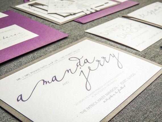 Calligraphy Wedding Invitation Modern Wedding by JulieHananDesign
