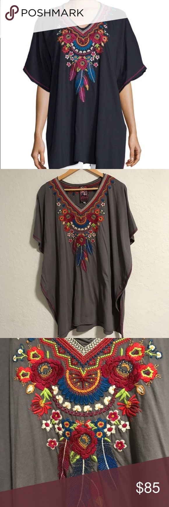 Johnny Was LA JWLA Eeran Tunic NWT JWLA Tunic Top Poncho in size small. 100% Cotton so extremely comfortable and soft. Like many JWLA this is oversized/run bigger so it can fit a size Medium and large. Color is called Dusty Mountain. Beautiful embroidery at the front and at back neckline as well as sides. Absolutely stunning! Please ask all questions prior to purchasing!   Notice*** the first photo is to show it styled and not the color I am selling. I am selling the gray one pictured in…