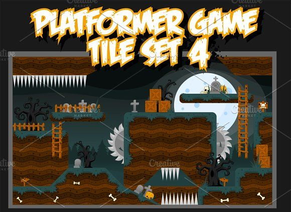 Platformer Game Tile Set 4 by pzUH on @creativemarket