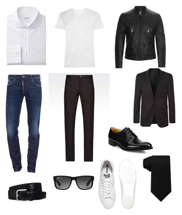 """""""Untitled #18"""" by fruzsina-sitku on Polyvore featuring Dsquared2, Sandro, BOSS Hugo Boss, Emporio Armani, Church's, Converse, Tod's, Ray-Ban, Tommy Hilfiger and men's fashion"""