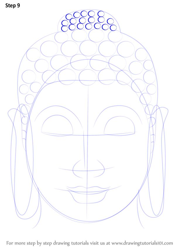 how to draw a buddha face step by step