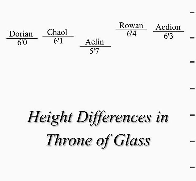 Aelin's 5'7 I'm 5'7...interesting. << I'm 5'3. I'd be dwarfed by all of them