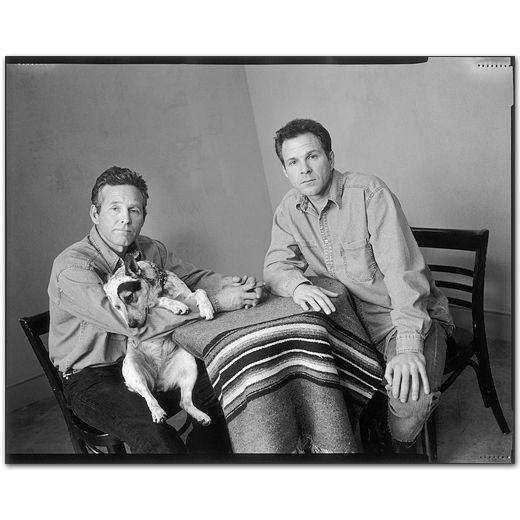 Timothy Bottoms with Sam Bottoms sitting at table with dog,Culver City, California 1999 by Mary Ellen Mark
