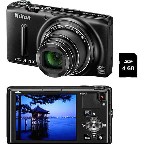 Câmera Digital Semi-Profissional Nikon S9500 18.1MP Zoom óptico 22x Cartão 4 GB - Preta