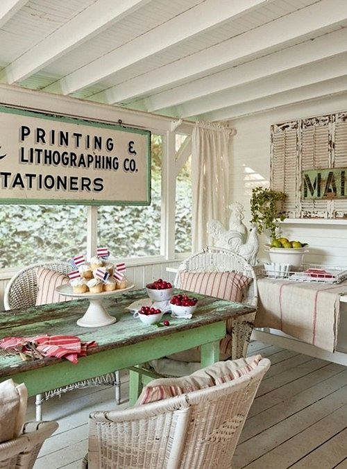 Vintage Cottage Porch in Shabby Chic Style
