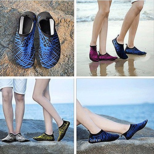 SexRt Men Women and Kid's Mutifunctional Water Shoes  ★FOOT SAFETY -- Wearable and anti-slip TPR sole is thick enough to protect baby's feet from injury when stepping on the stone.  ★COMFORTABLE -- Breathable and smooth fabrics offer superior comfort to keep feet sweat-free, flexible and comfortable.  ★CONVENIENCE -- Smooth neck design prevents chafing and it can be wear and take off conveniently. Come with a plastic, zipper storage bag for keeping while packaged.  ★DRY QUICKLY-- Made...