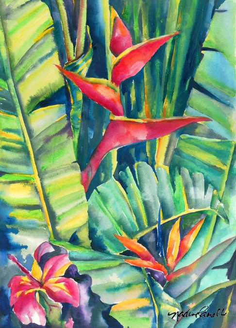 Tropical Daystar watercolor painting, watercolor painting artist ...