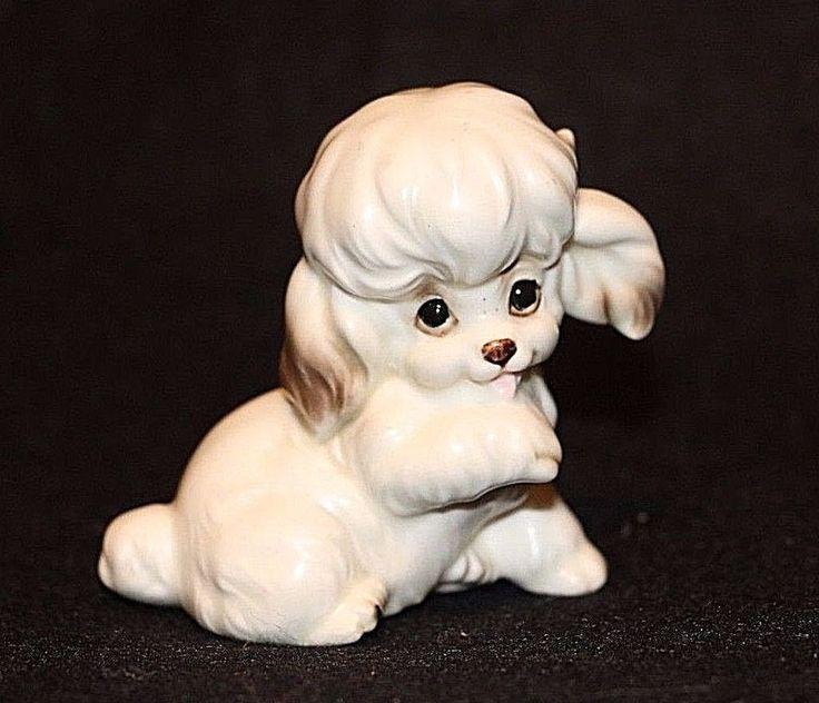 """Josef Vintage Porcelain White Dog Figurine 3""""JAPAN label Bichon Cocker Poodle VT"""