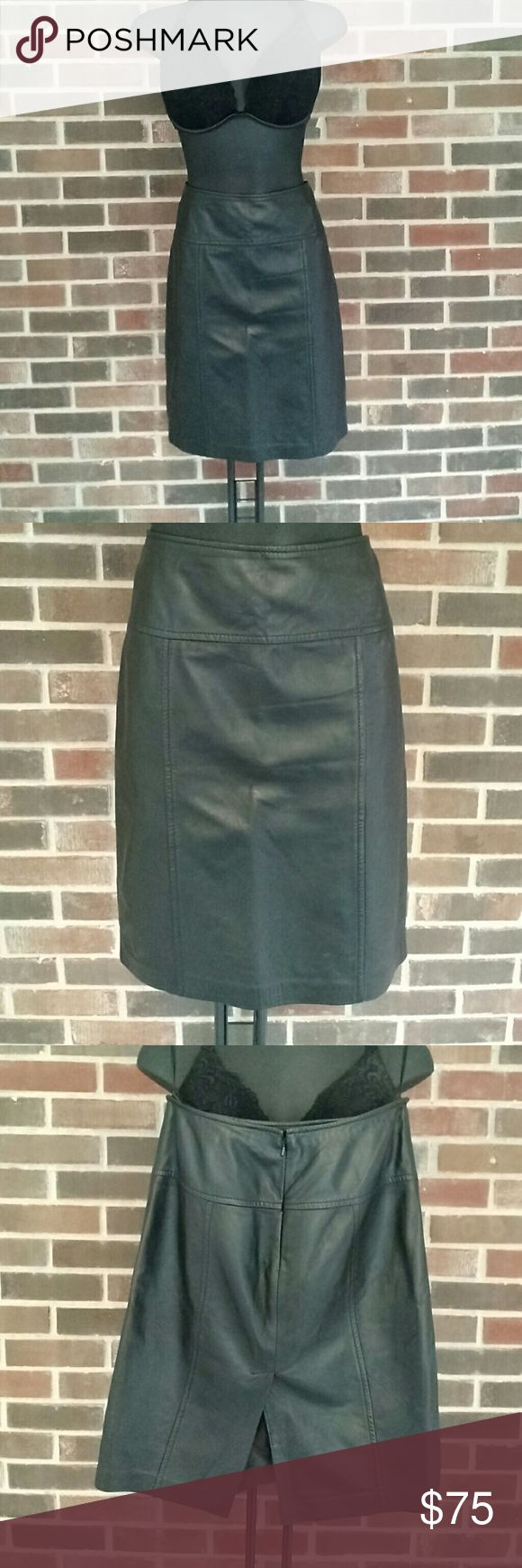 """Authentic Saks Fifth Avenue leather pencil skirt Black Saks Fifth Avenue 100%leather pencil skirt. This skirt is fierce. Light loved. Size 4, 20"""" in length. Skirts Pencil"""
