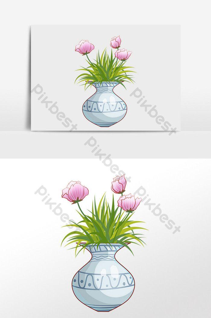 Ilustrasi Pasu Tanaman Bunga Yang Dilukis Dengan Tangan Elemen Grafik Psd Percuma Muat Turun Pikbest Di 2020 Bunga Menggambar Bunga Lukisan Bunga