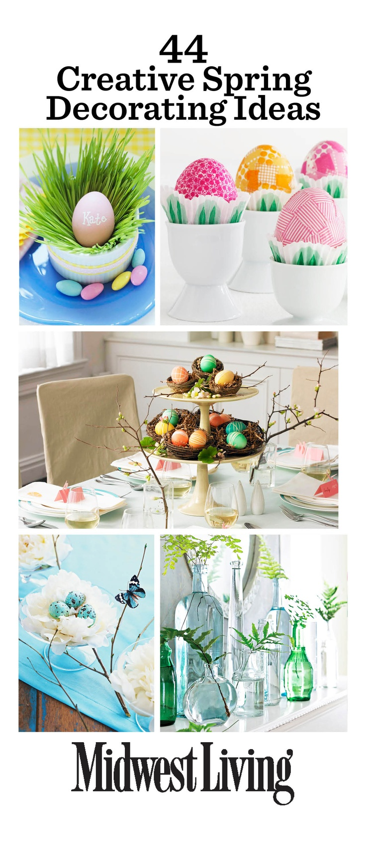 Easter and spring decorating inspirations! http://www.midwestliving.com/homes/entertaining/spring-centerpieces/