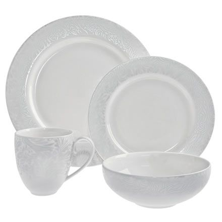 Lucille Silver 4 pc Set - $64.99 can get a tea cup and saucer but not a rimmed soup bowl -( dishwasher microwave warm oven and freezer safe! very elegant ...  sc 1 st  Pinterest & 23 best White dishes images on Pinterest | White dinnerware White ...