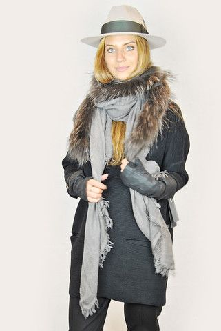 ANNETTE GORTZ BROWN FIFI RACCOON FUR SCARF SHAWL CAPE