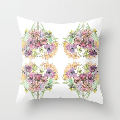 floral love Throw Pillow by Joyce Cuda - $20.00