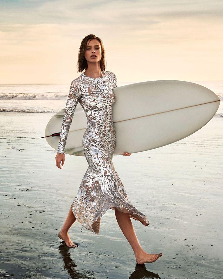 Michael Kors Collection Leaf Paillettes Long-Sleeve Midi Dress