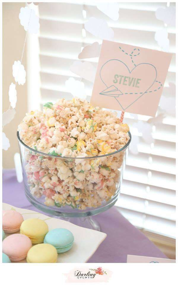 Hot air balloon birthday party pastel popcorn! See more party planning ideas at CatchMyParty.com!
