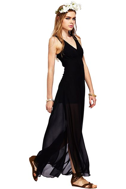 ROMWE | ROMWE Split Sides Sheer Sleeveless Black Dress, The Latest Street Fashion  #Romwe