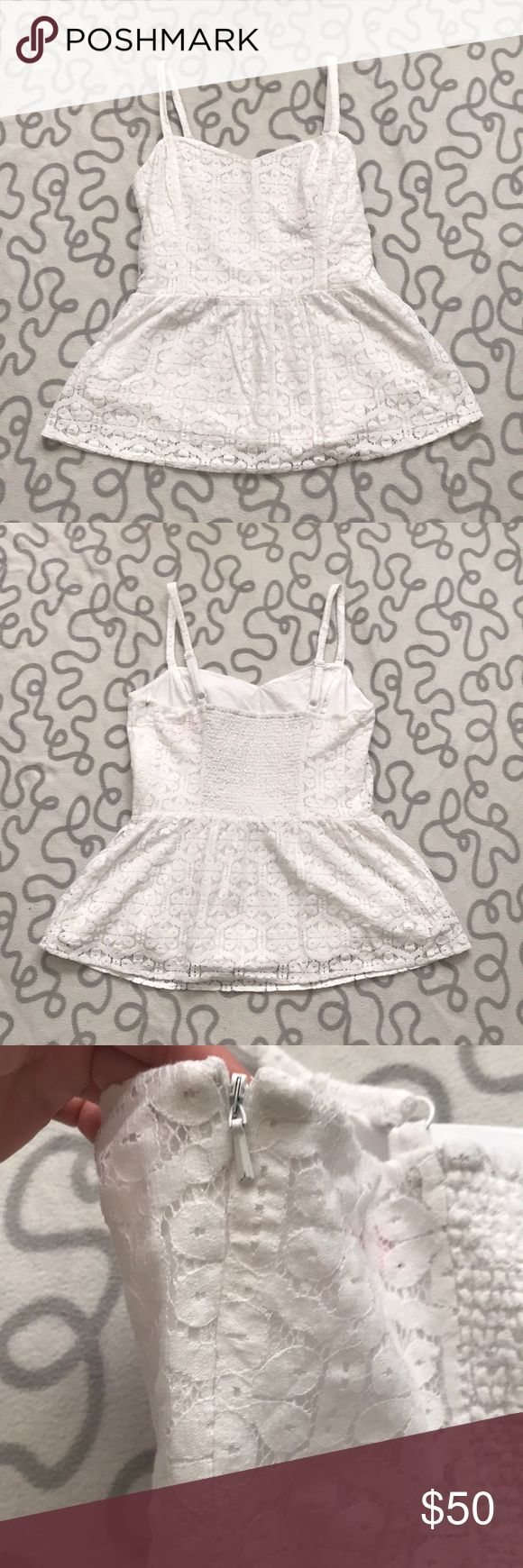 Lilly Pulitzer Lace Tank Top Perfect condition. It has a sweetheart neckline and is lined underneath. Straps are adjustable. Zips down the side and the back has some elastic for some stretch. Lilly Pulitzer Tops Tank Tops